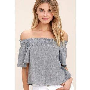 Lulus Seas The Day Striped Off the Shoulder Top